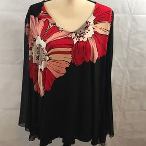 Alfani NWT 2X sheer long sleeves floral print